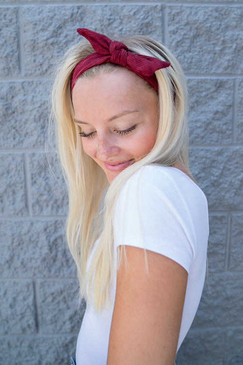 Knotted Corduroy Hairband (Burgundy)