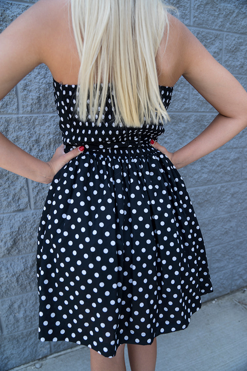 Haddie Strapless Polka Dot Dress FINAL SALE