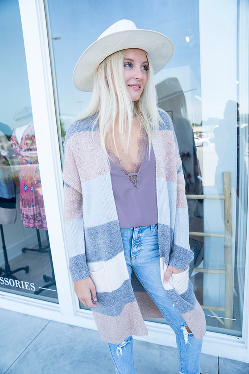Lilah Color-Block Cardigan (Gray)