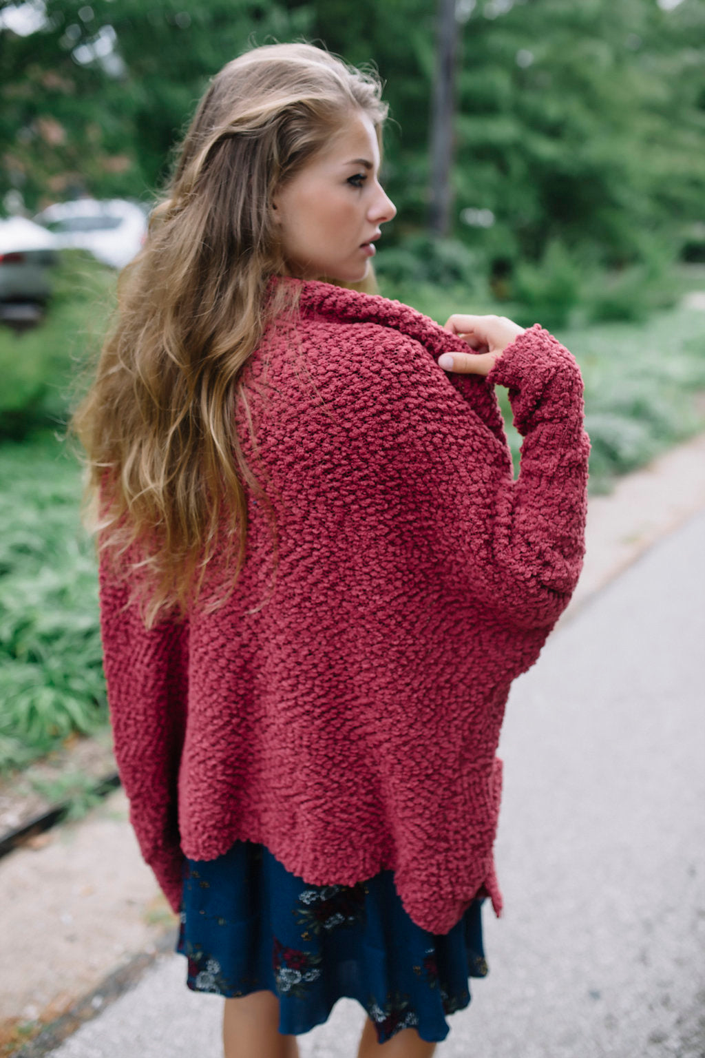 Always Dreaming Sweater Cardigan - Maroon