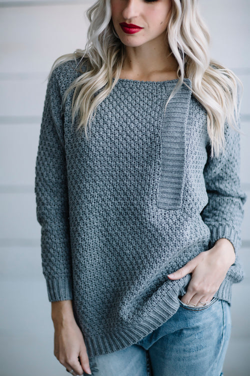 Let's Get Stitched Pullover (Gray)