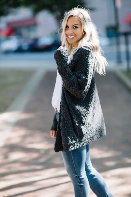 Always Dreaming Sweater Cardigan - Charcoal