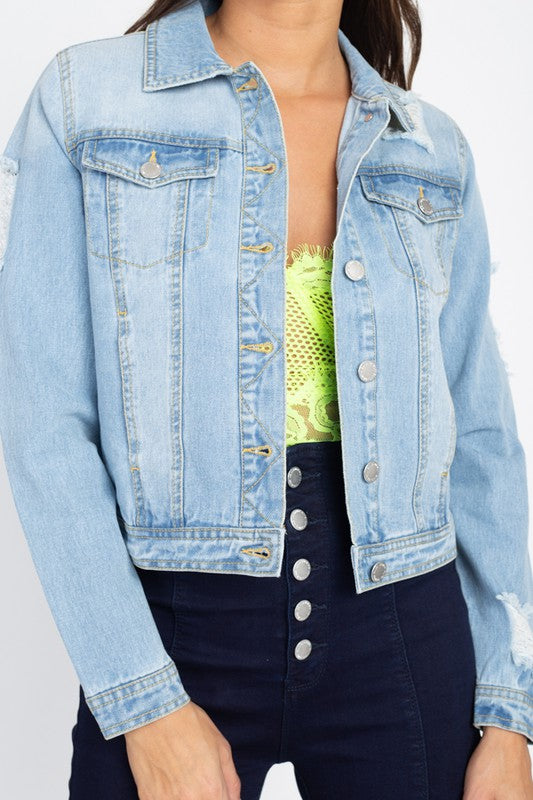 Layne Distressed Denim Jacket