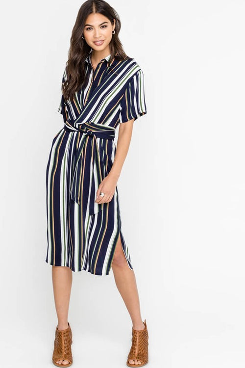 Hepburn Striped Midi Dress FINAL SALE