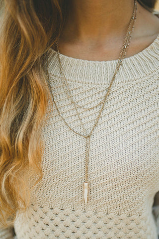 Tori Gold Bar And Bead Necklace (Gold)