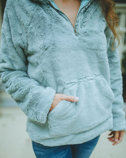 Fall Dreams Faux Fur Pullover (Sage)
