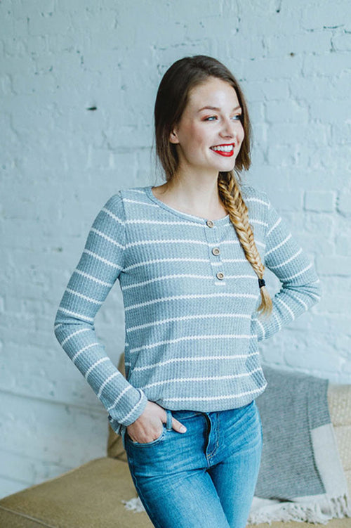 Top Of The Line Thermal Striped Top (Gray/Ivory)