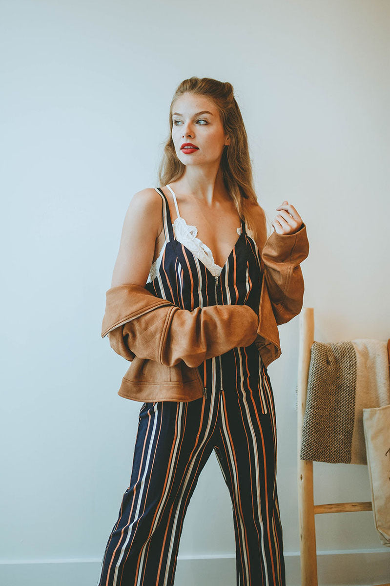 Go Back In Time Striped Jumpsuit
