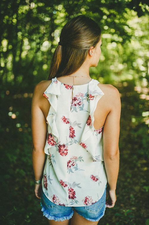 Rhodes Floral Tank Top (White) FINAL SALE