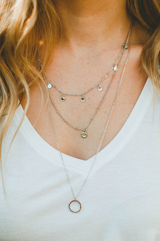 Tori Gold Bar And Bead Necklace (Silver)