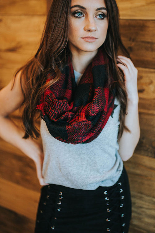 Winter Spirit Plaid Infinity Scarf (Red/Black)