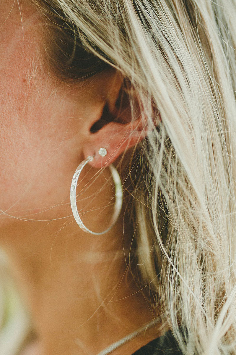 Pierce Hoop Earrings (Silver)