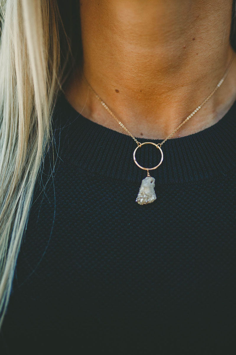 Gold Circle Druzy Stone Necklace