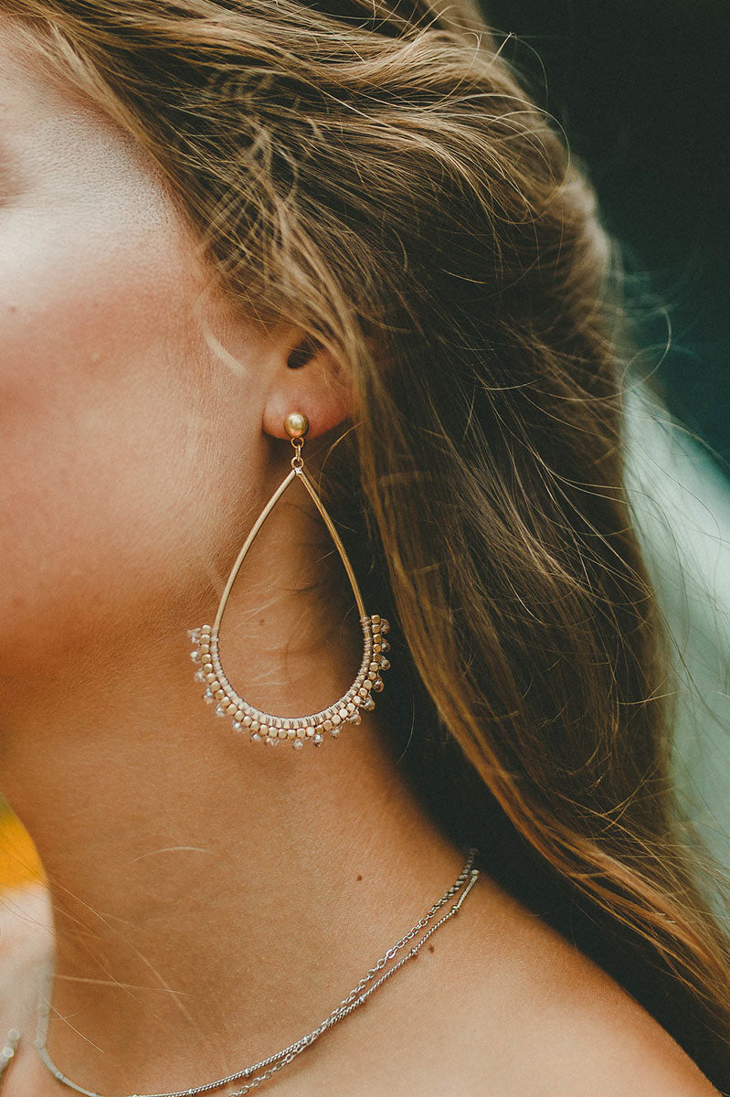Oriel Beaded Tear Drop Earrings (Clear)