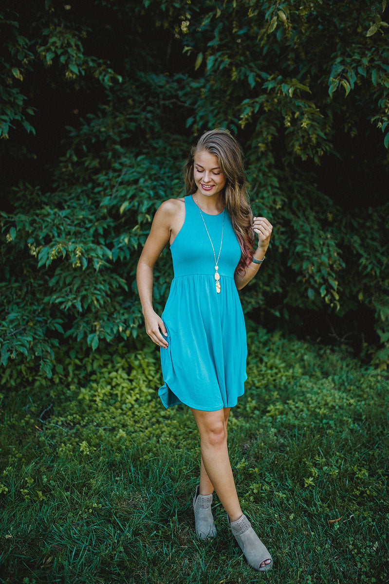 Peace Of Mind Dress-Teal FINAL SALE