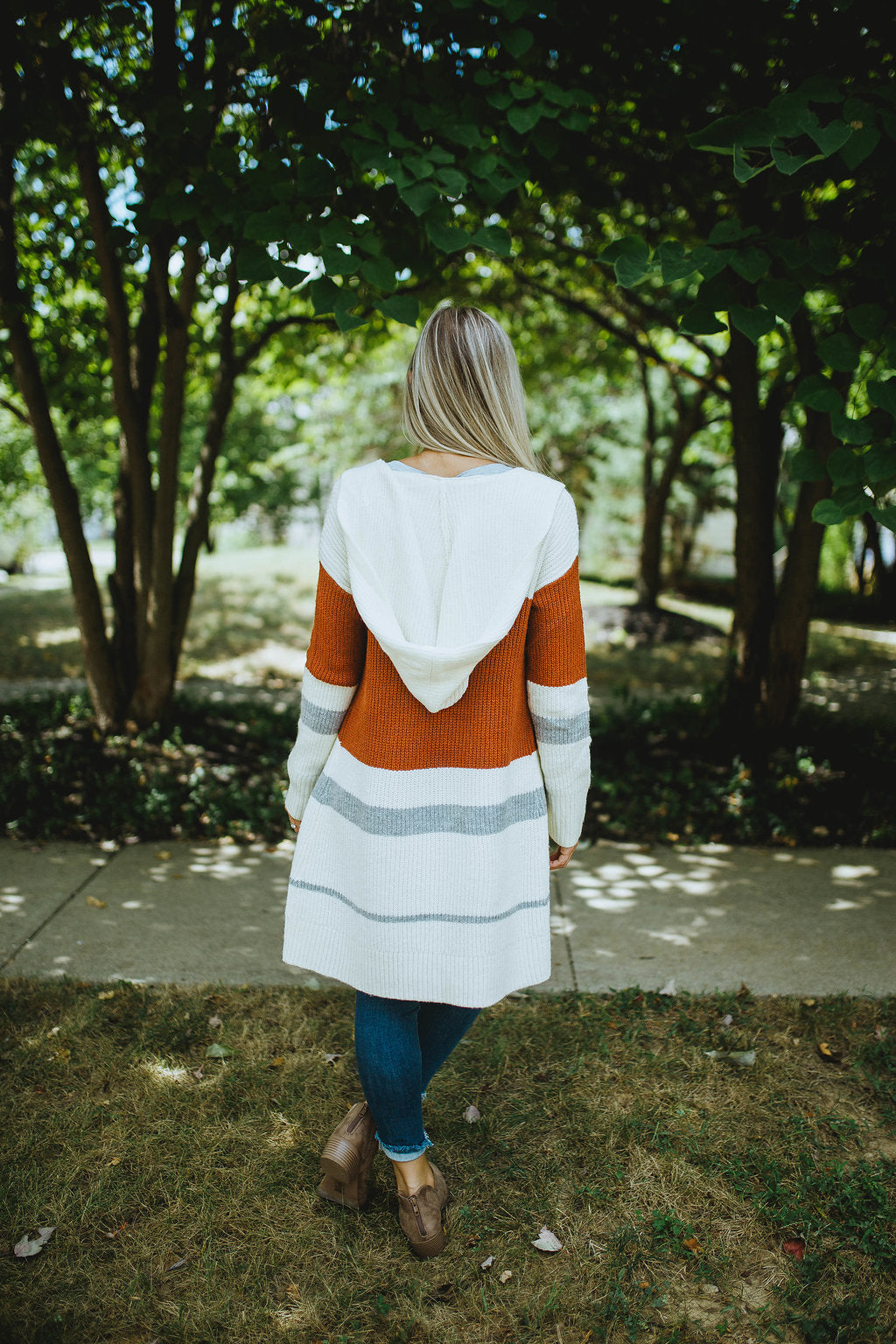 Autumn Days Color Block Hooded Cardigan