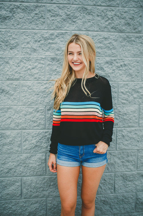 Brighter Days Striped Sweater Top