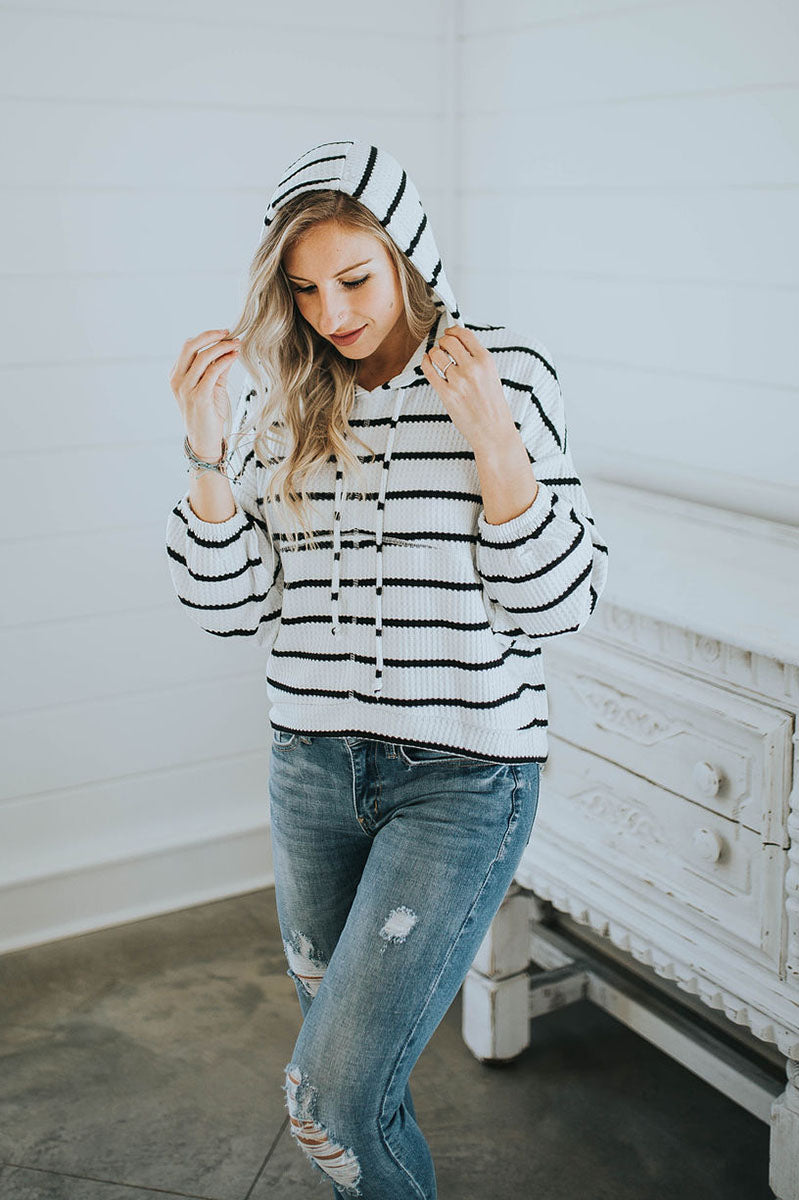 Chaser Guilty Pleasure Striped Thermal Hoodie