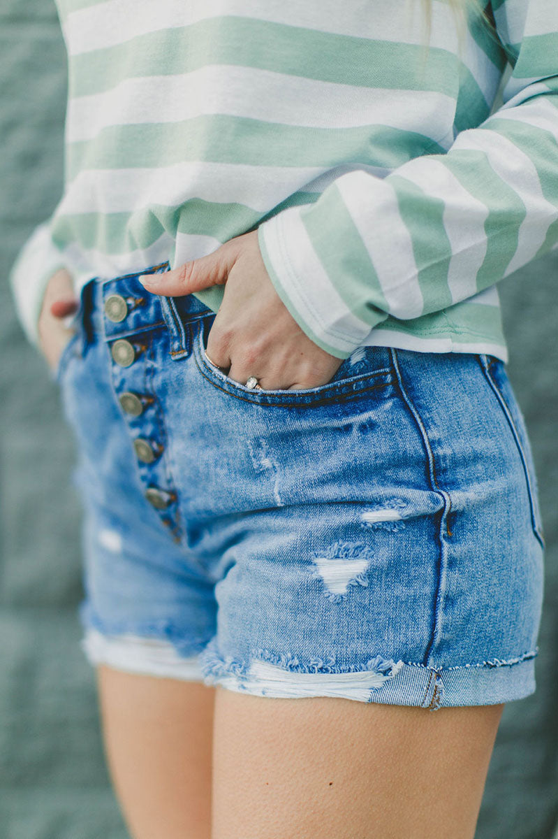 Laine Button Up Distressed Shorts