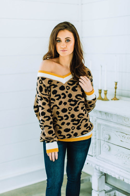 Already Gone Leopard Print Sweater FINAL SALE