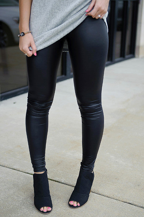 Pleather Leggings - Black (Final Sale)