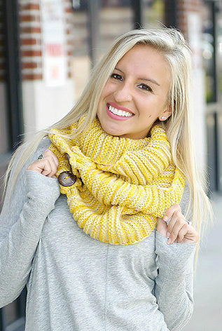 Knit Button Accent Infinity Scarf (Mustard)