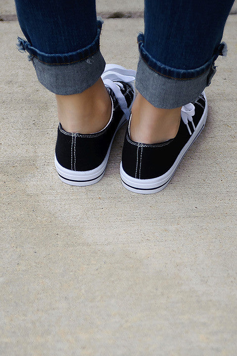 Step Up Canvas Shoe - Black FINAL SALE