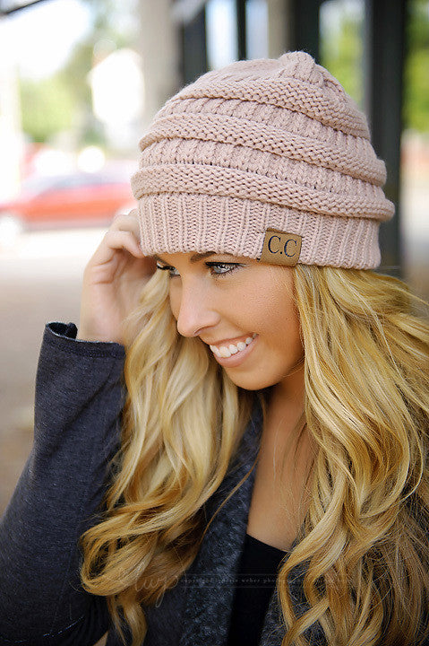Knit Slouchy Beanie - Pink