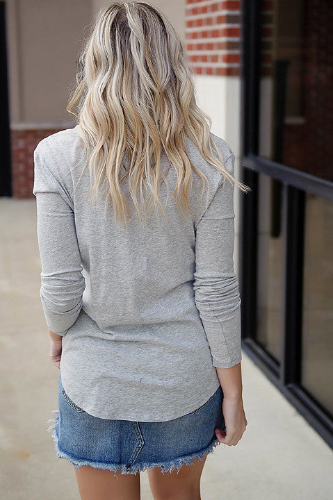 BOBI Long Sleeve Deep V- Neck Tee - Gray (Final Sale)