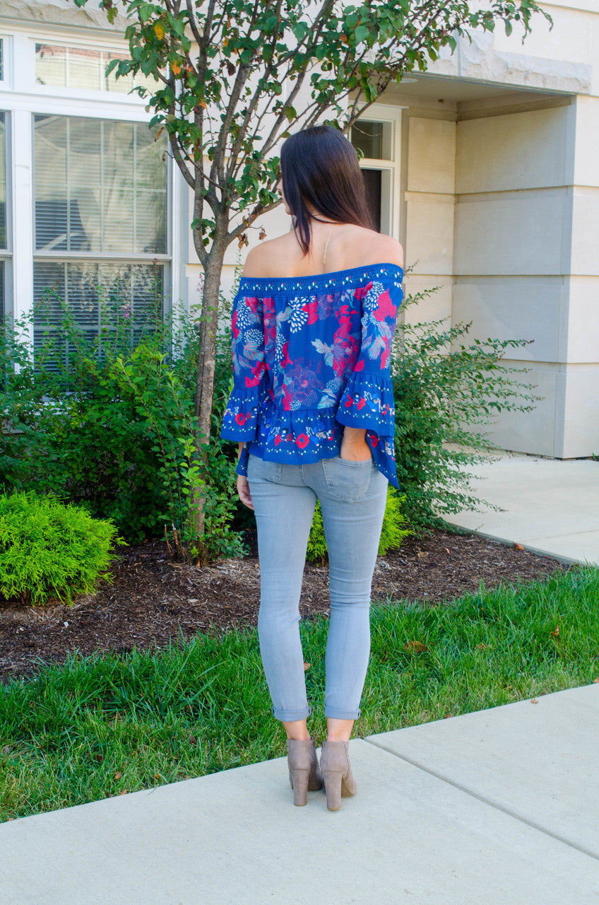 Why So Blue Floral Top