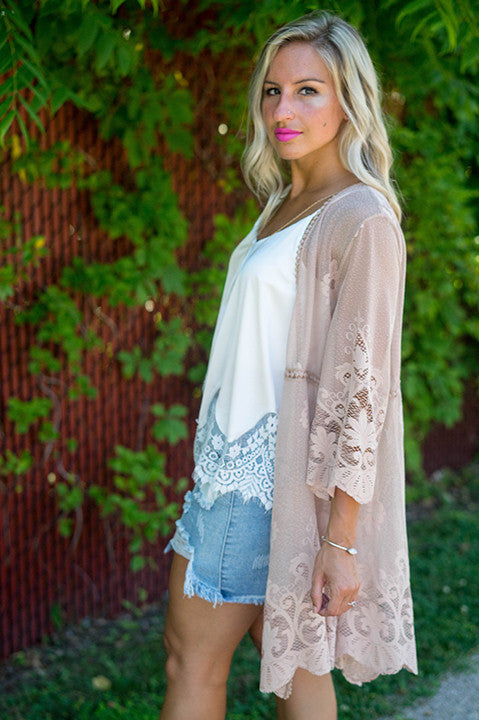 Come Away With Me Lace Kimono (Taupe)