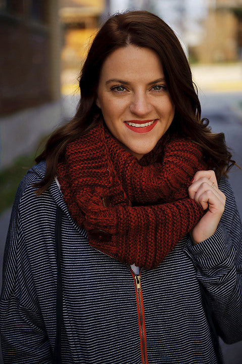 Knit Button Accent Infinity Scarf (Red)