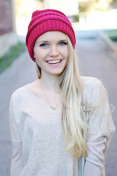 Knit Slouchy Beanie - Hot Pink