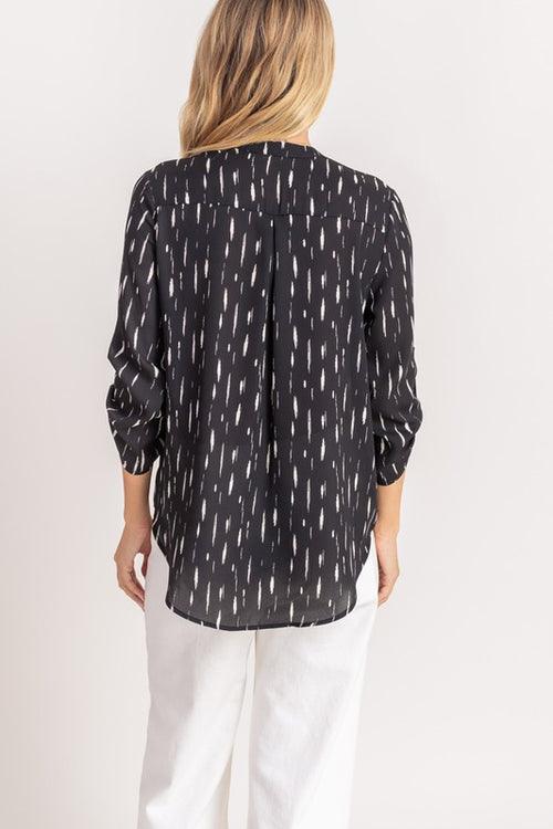 Torin V-Neck Blouse (Black/White)