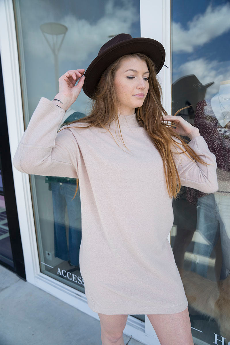 Marlia Mock Neck Sweater Dress (Taupe)