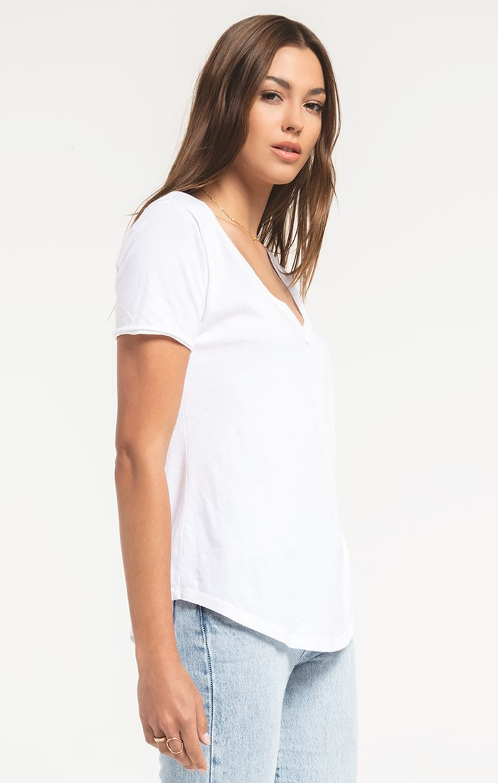 Z Supply Organic Cotton V-Neck Tee (White)