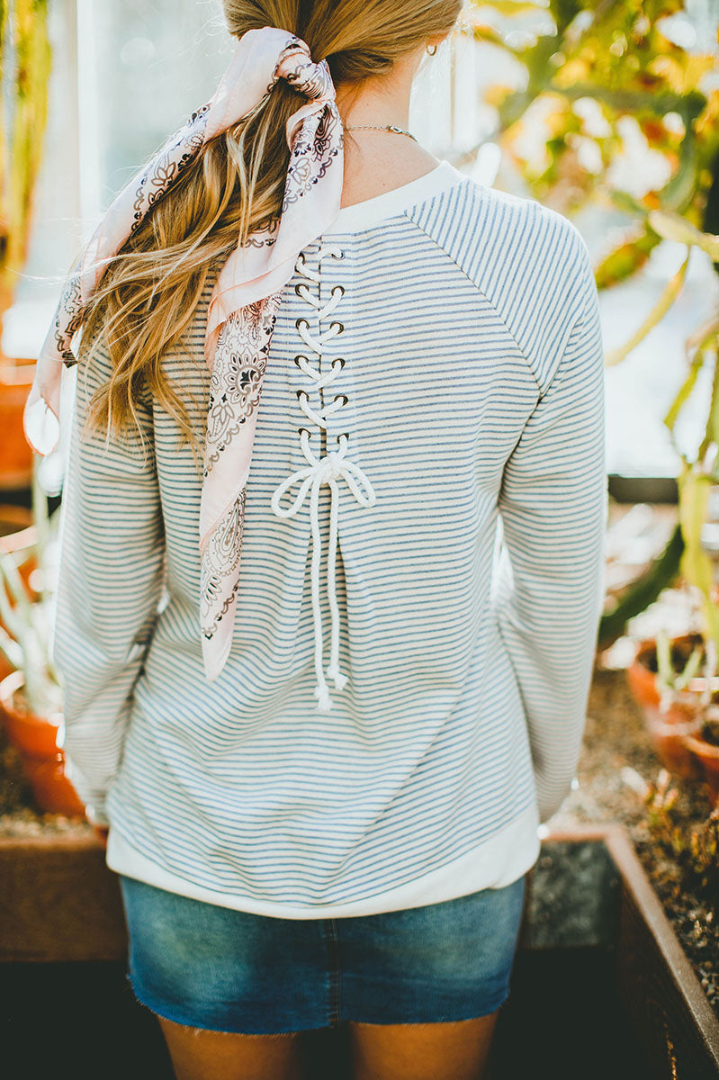 Darian Lace Up Back Sweatshirt