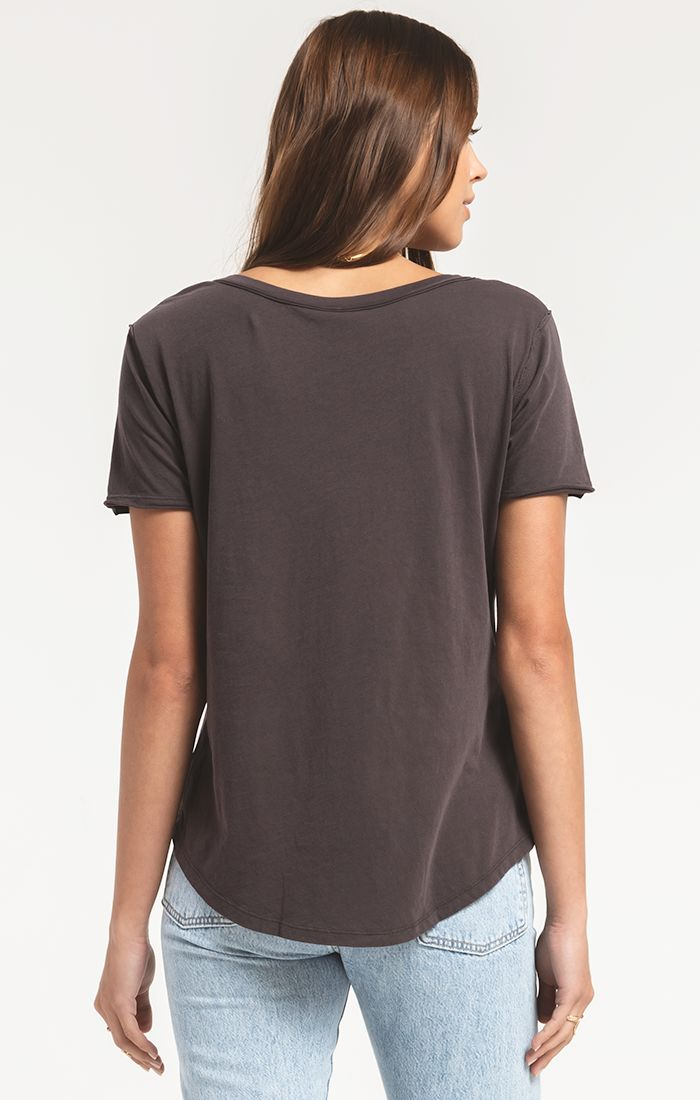 Z Supply Organic Cotton V-Neck Tee (Graphite)