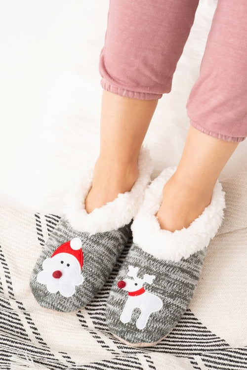 Santa And Rudolf Knitted Slippers FINAL SALE