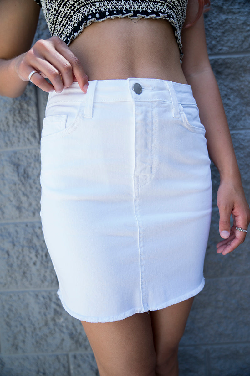 Annika White Denim Skirt