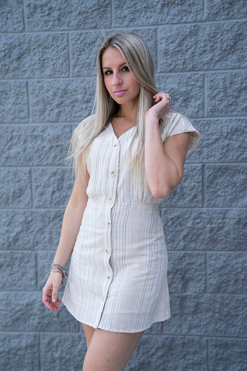 Bently Button Up Linen Dress FINAL SALE