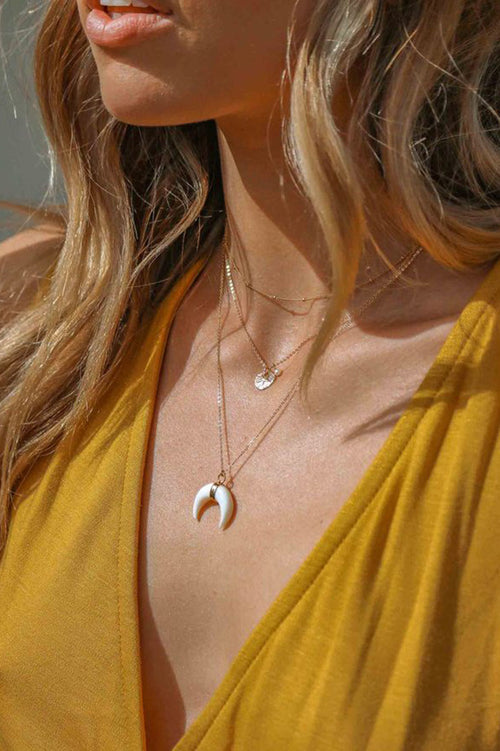 White Shell Crescent Moon Necklace