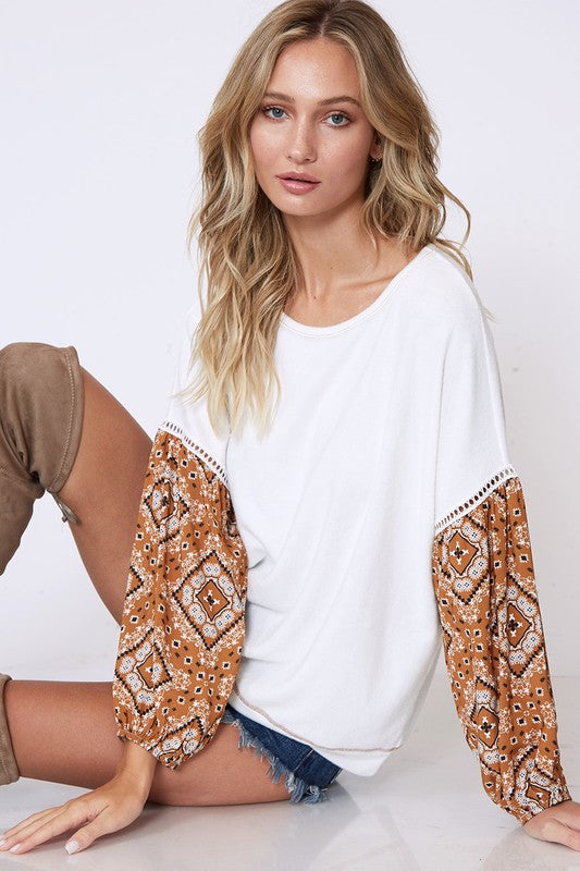 Without A Care Bubble Sleeve Top