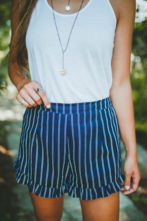Make Things Easy Striped Shorts