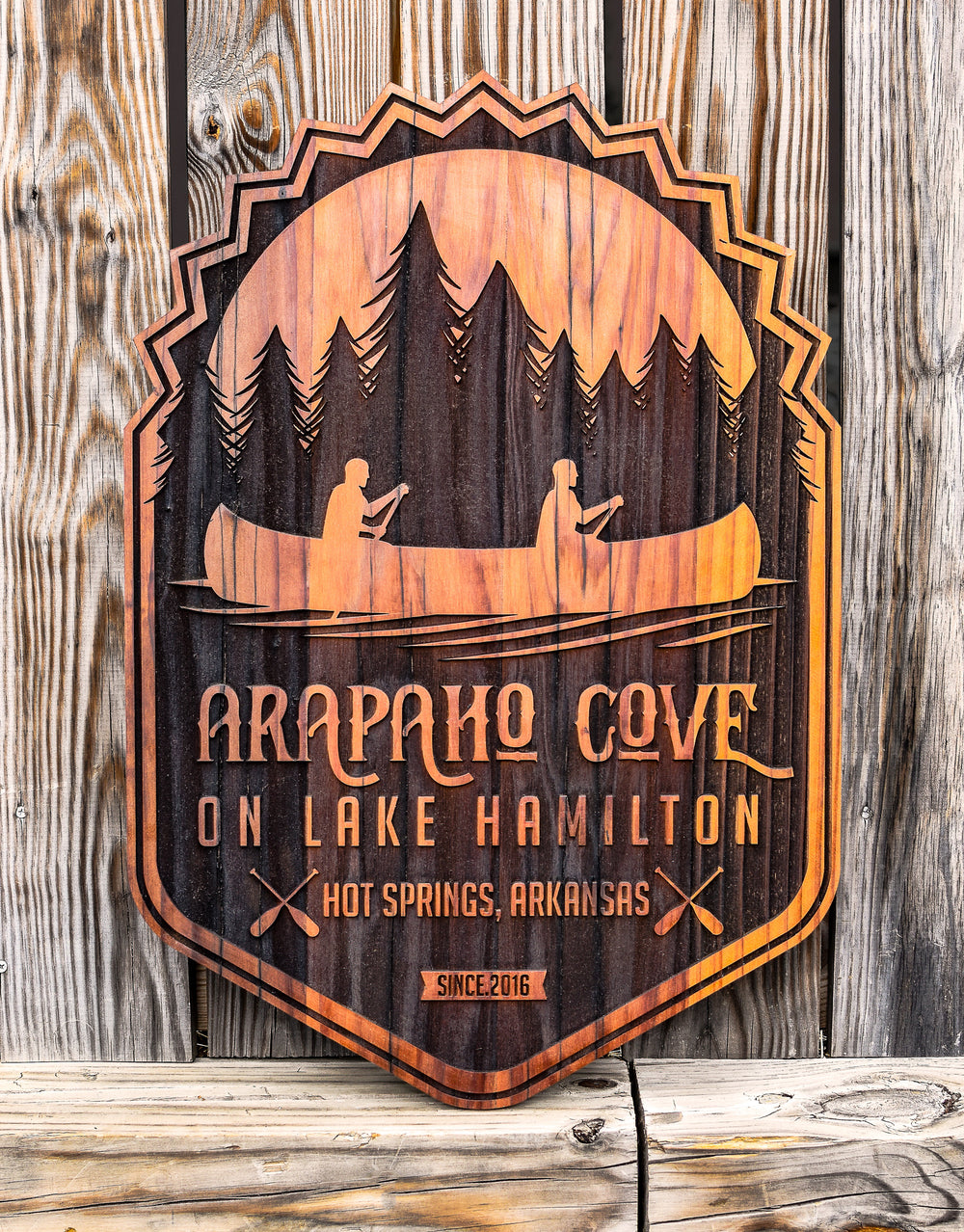 laser etched reclaimed redwood sign for arapaho cove