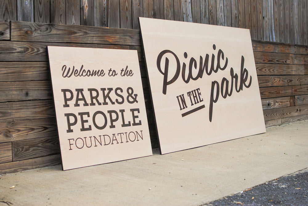 laser engraved event signage for parks and people foundation
