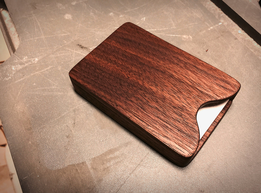 Coconut oil sanding on walnut business card holder.