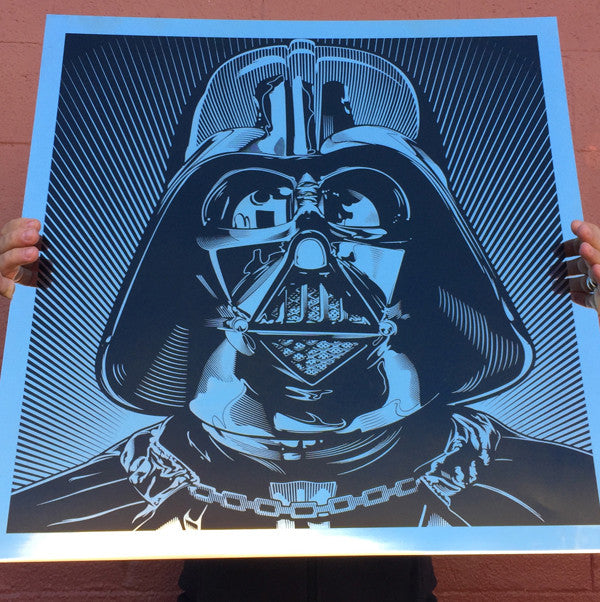 Laser etched illustration by Josh Buddich of Darth Vader on mirror finish stainless