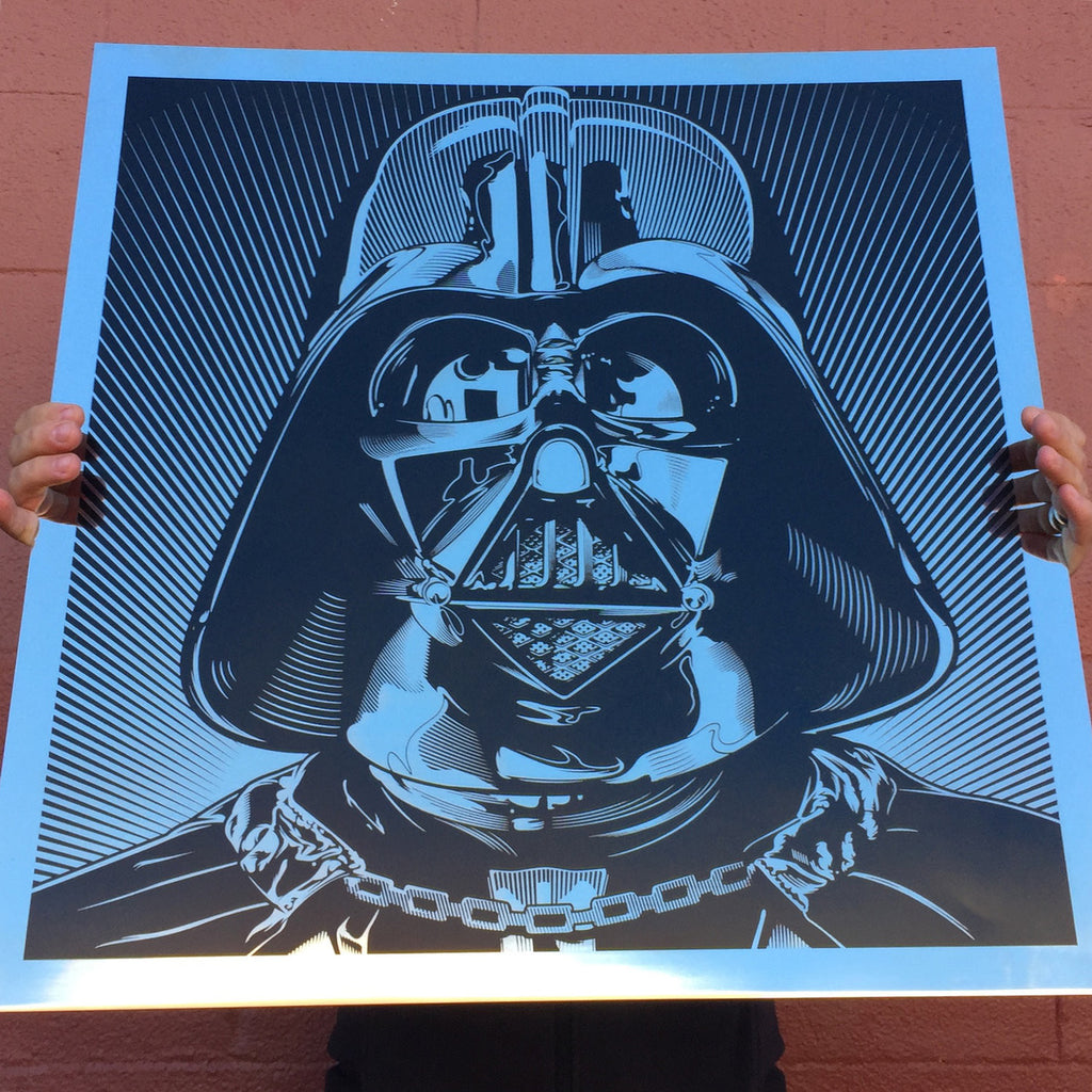 A massive laser etched Darth Vader illustration (by Josh Buddich) on mirror finish stainless steel.