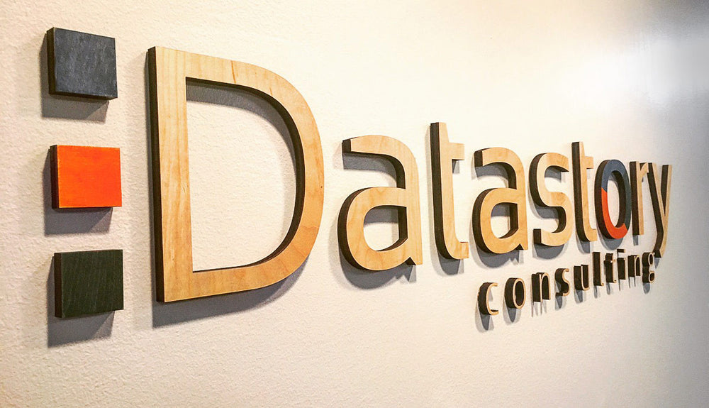 lasercut floating sign for datastory consulting